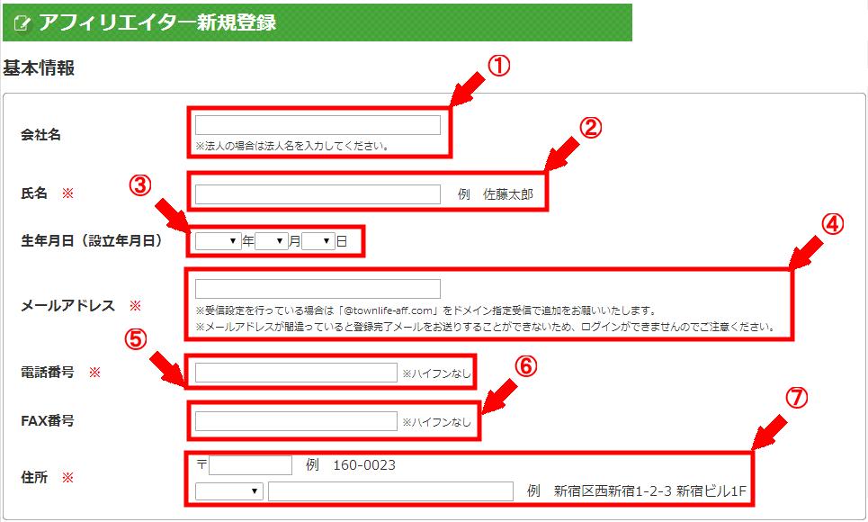 タウンライフアフィリエイトの無料会員登録の仕方3 (2)